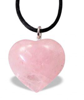 Colgante De Corazón De Cuarzo Rosa Pequeño