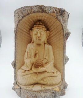Buda De Madera Tallado En Tronco