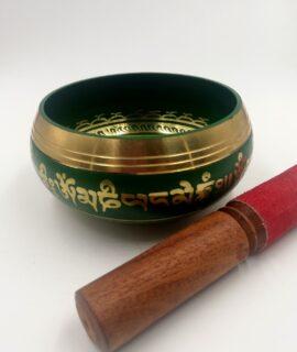 Cuenco Tibetano 5 Metales Verde Con Baqueta
