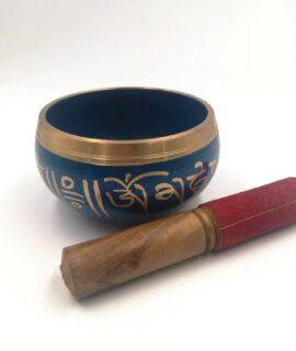 Cuenco Tibetano 5 Metales Azul Con Baqueta