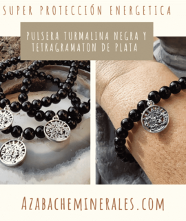 Pulsera De Turmalina Negra Con Tetragramaton De Plata