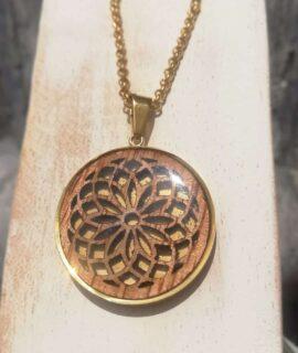 Colgante Mandala De Madera Y Acero Dorado